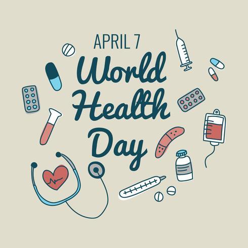 Doodle van medische spullen voor de dag van de gezondheid vector