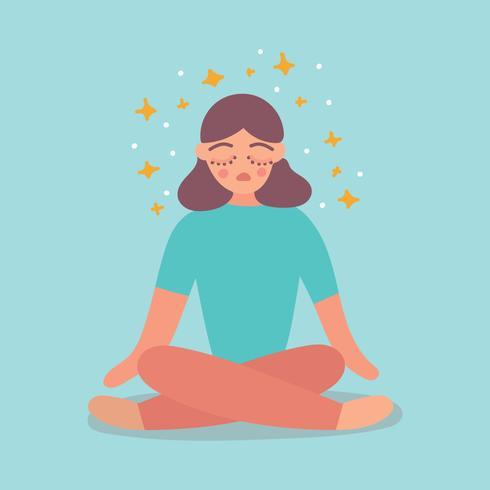 Chica meditando por su salud mental vector