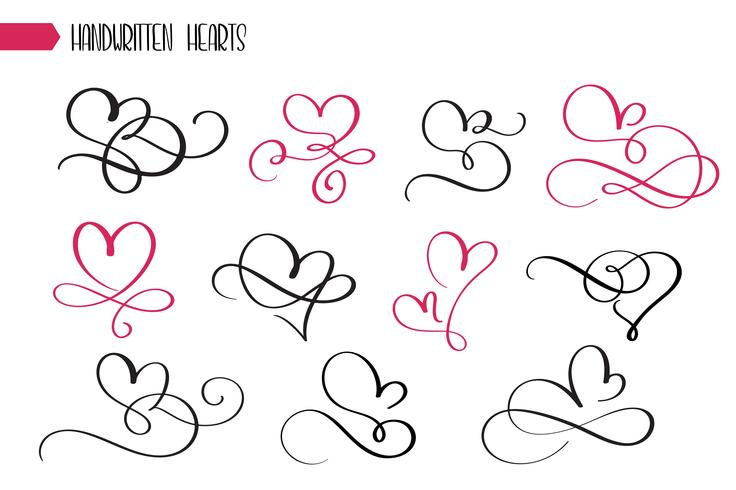 Conjunto de corações de caligrafia esboçado mão desenhada vetor