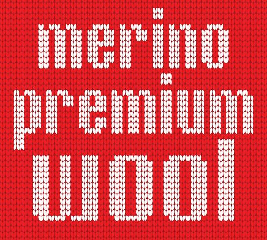 Knitted Text. Merino premium wool. Inr ed and white colors. Vector illustration.