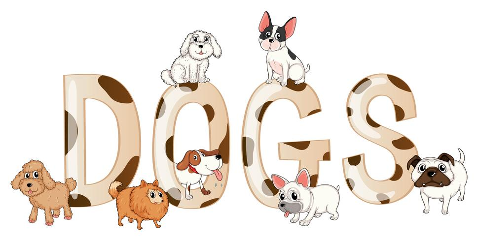 Word design with cute dogs vector
