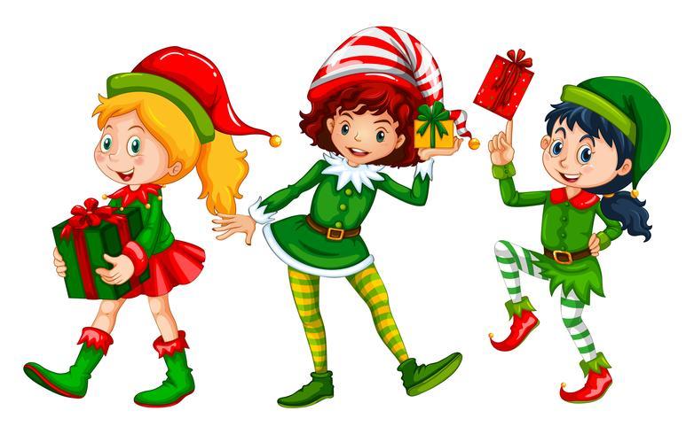 Três meninas vestidas em traje de duende para o Natal