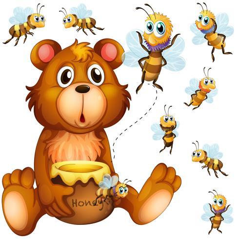 Urso segurando pote de mel e abelhas voando por aí