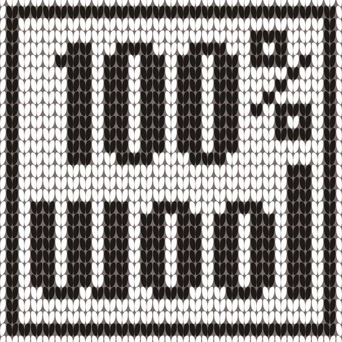 Texte tricoté. 100% laine. En couleurs noir et blanc. Illustration vectorielle vecteur