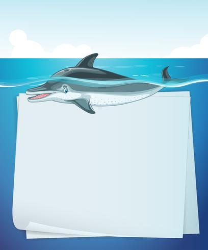 Papierdesign mit Delphin im Meer