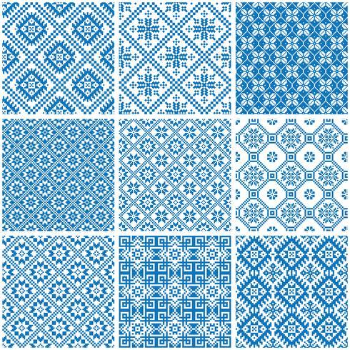 Patrones sin fisuras étnicos ornamentales azules y blancos