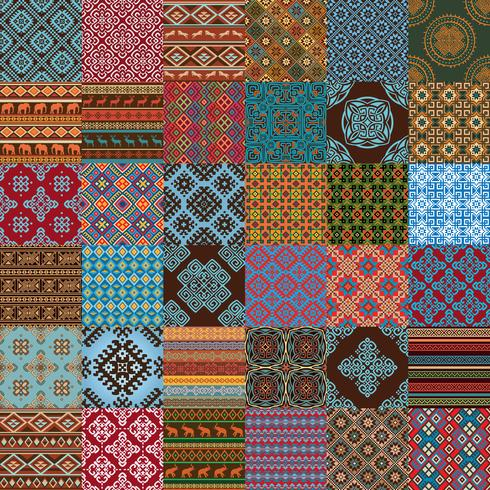 ethnic seamless textures vector