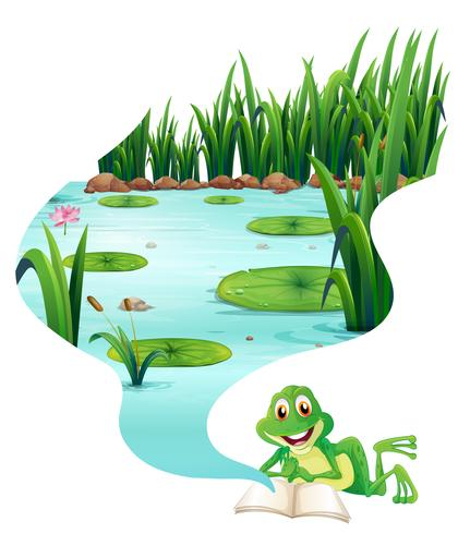 Frog reading book about the pond