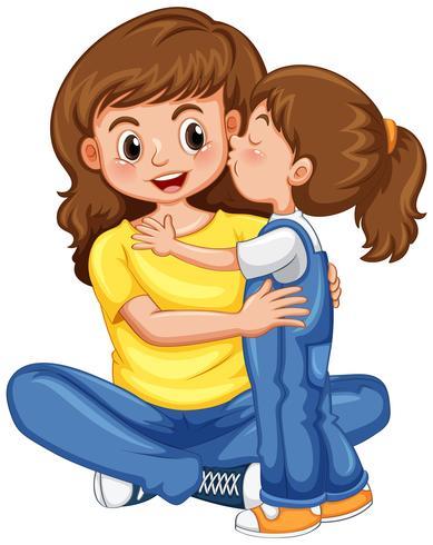 Dochter kuste haar moeder vector