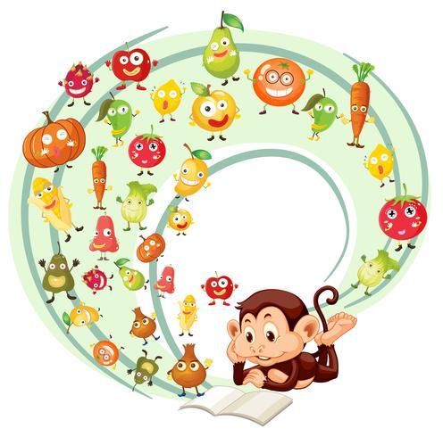 Libro de lectura de monos de frutas y verduras. vector