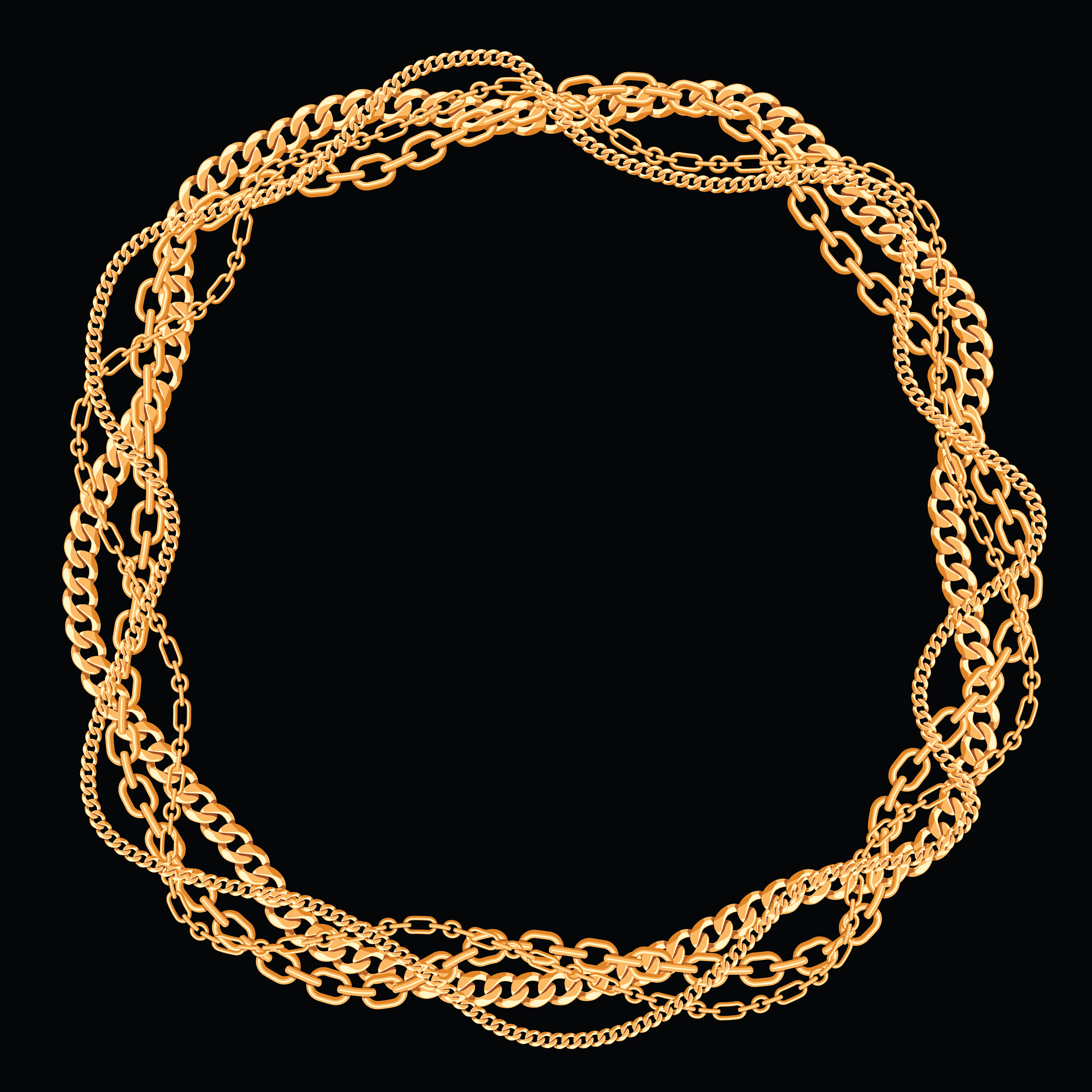 Round frame made with twisted golden chains. On black ...  Chain Vector