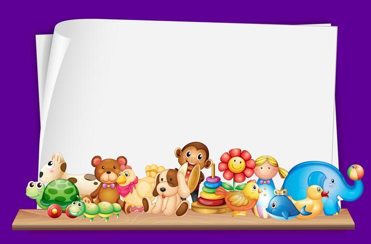 Plantilla de papel con muchos juguetes.