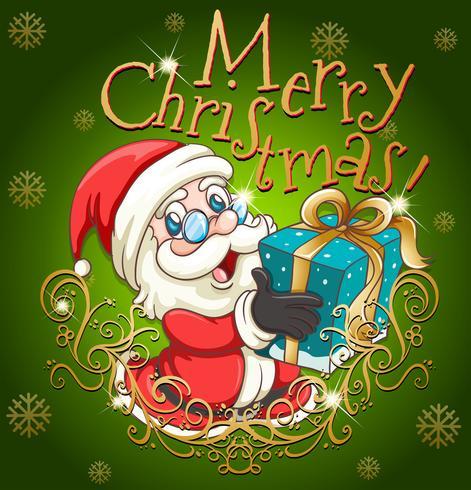 Cartel de feliz navidad con santa y regalo vector