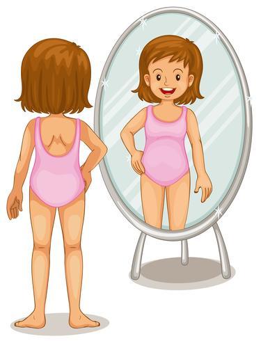 Meisje die spiegel bekijken vector