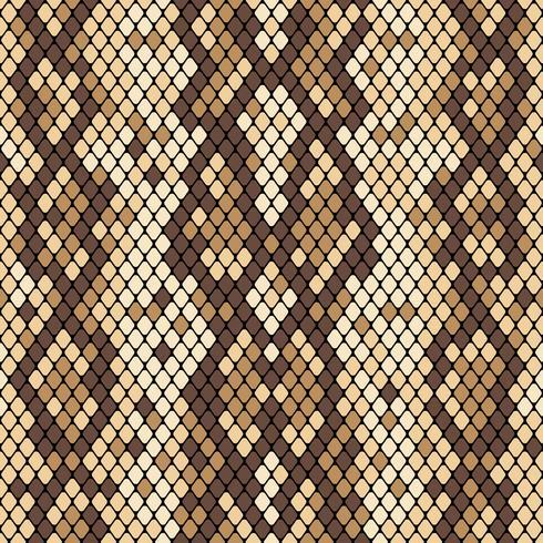 Padrão sem emenda de pele de cobra. Textura realista de cobra ou outra pele de réptil. Cores bege e marrons. Vector illustartion