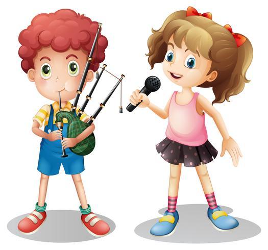 Niño tocando gaita y niña cantando
