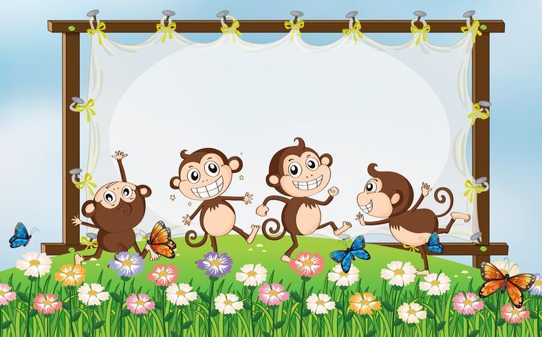 Frame ontwerp met vier apen in het veld vector