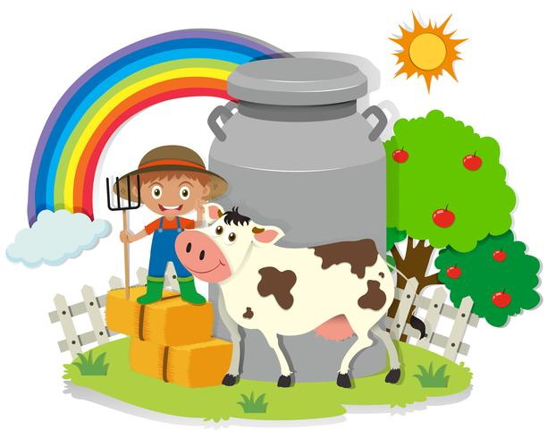 Landbouwer die in de boerderij met koe werkt vector