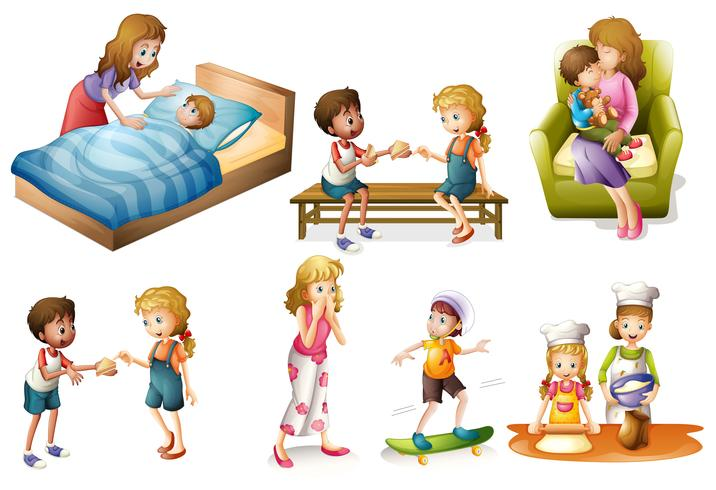 Children and mother doing different activities