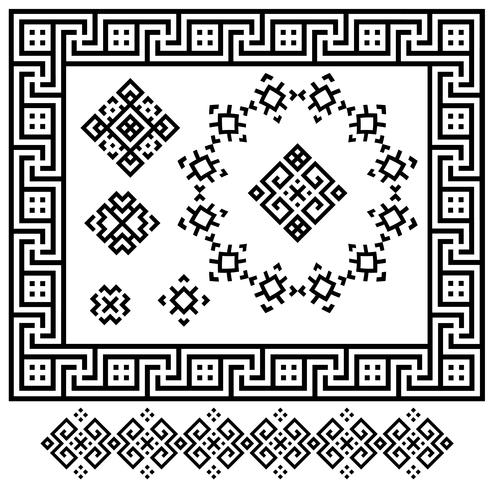 A set of black and white geometric designs. Signs, frames and border. Vector illustration
