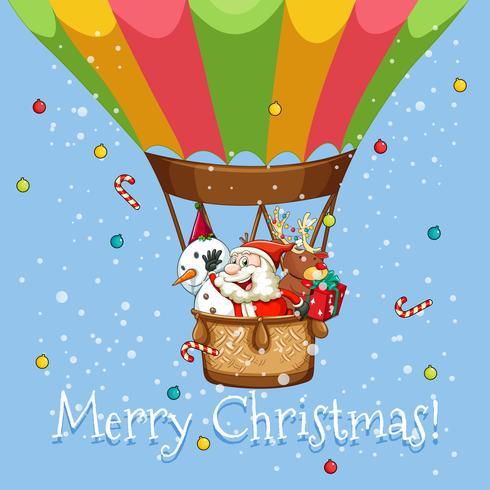 Cartel de navidad con santa en globo