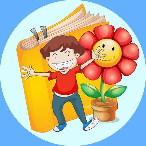 Gelukkige jongen met boek en bloemachtergrond vector