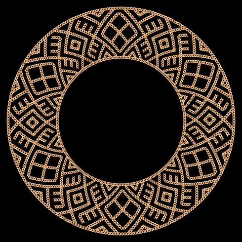 Round frame made with golden chains. On black. Vector illustration