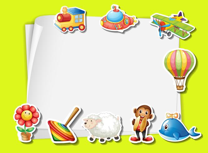 Papiersjabloon met veel speelgoed vector