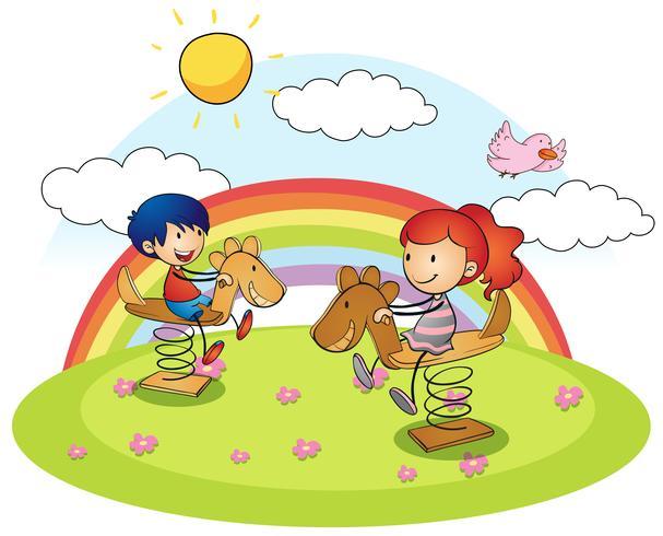 Menino menina, ligado, cavalo balanço
