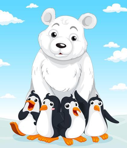 Oso polar y pingüinos vector