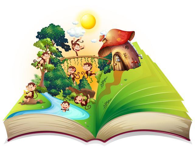 Boek met apen die bij de rivier wonen vector