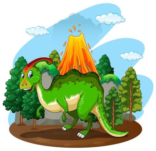 Dinosaurio verde en el bosque