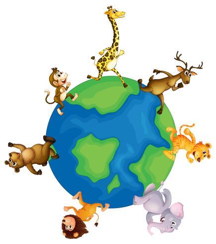 Wild animals running around the earth