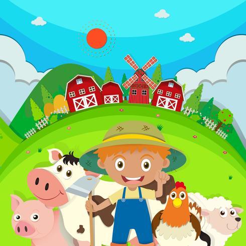 Agricultor e animais de fazenda na fazenda vetor
