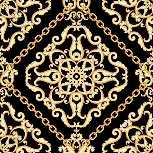 Nahtloses Damastmuster. Goldene Beige auf schwarzer Beschaffenheit mit Ketten. Vektor-Illustration vektor
