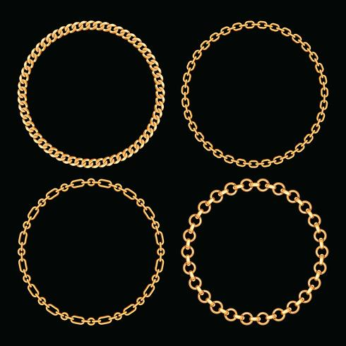 Set collection of round frames made with golden chains. On black. Vector illustration