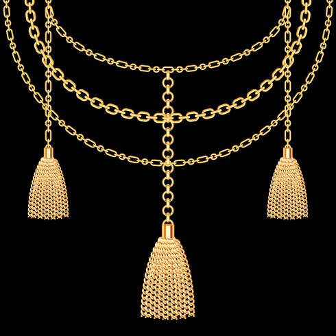 Fundo com colar metálico dourado. Borlas e correntes. No preto. Ilustração vetorial