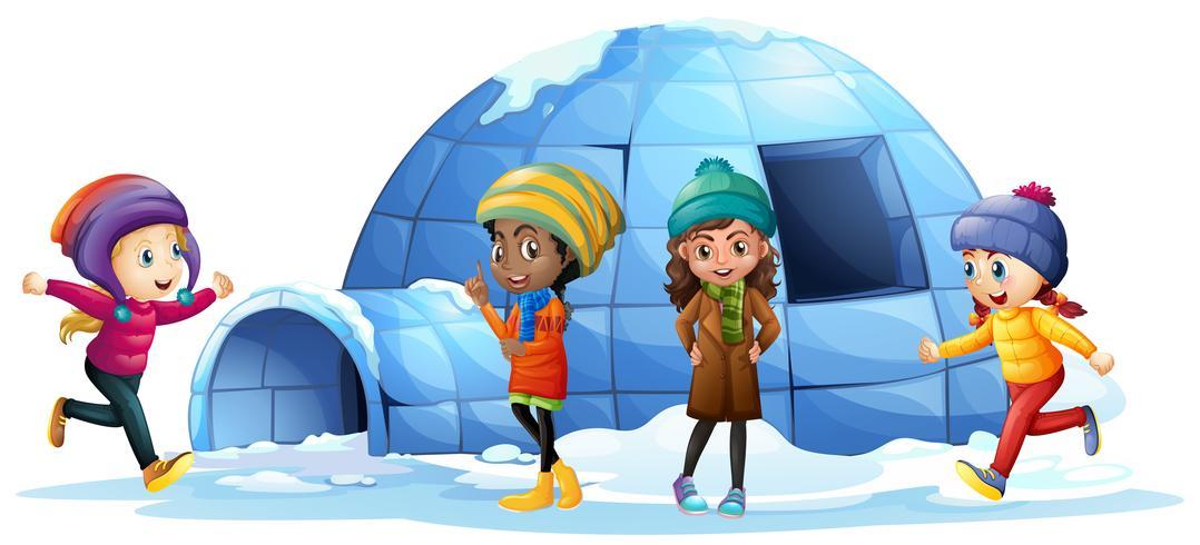 Kinderen die iglo spelen