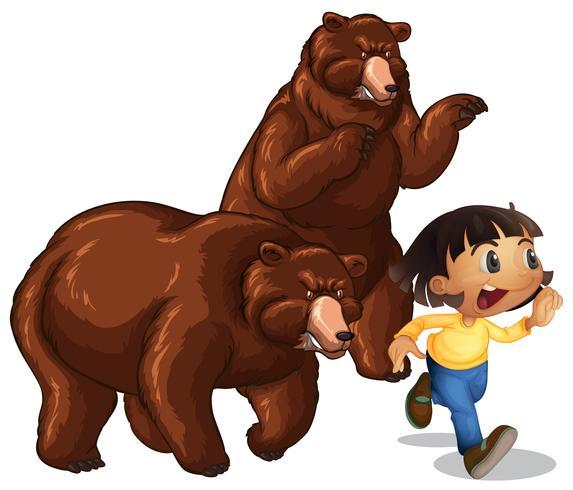 Tjej springande från grizzlybjörnar