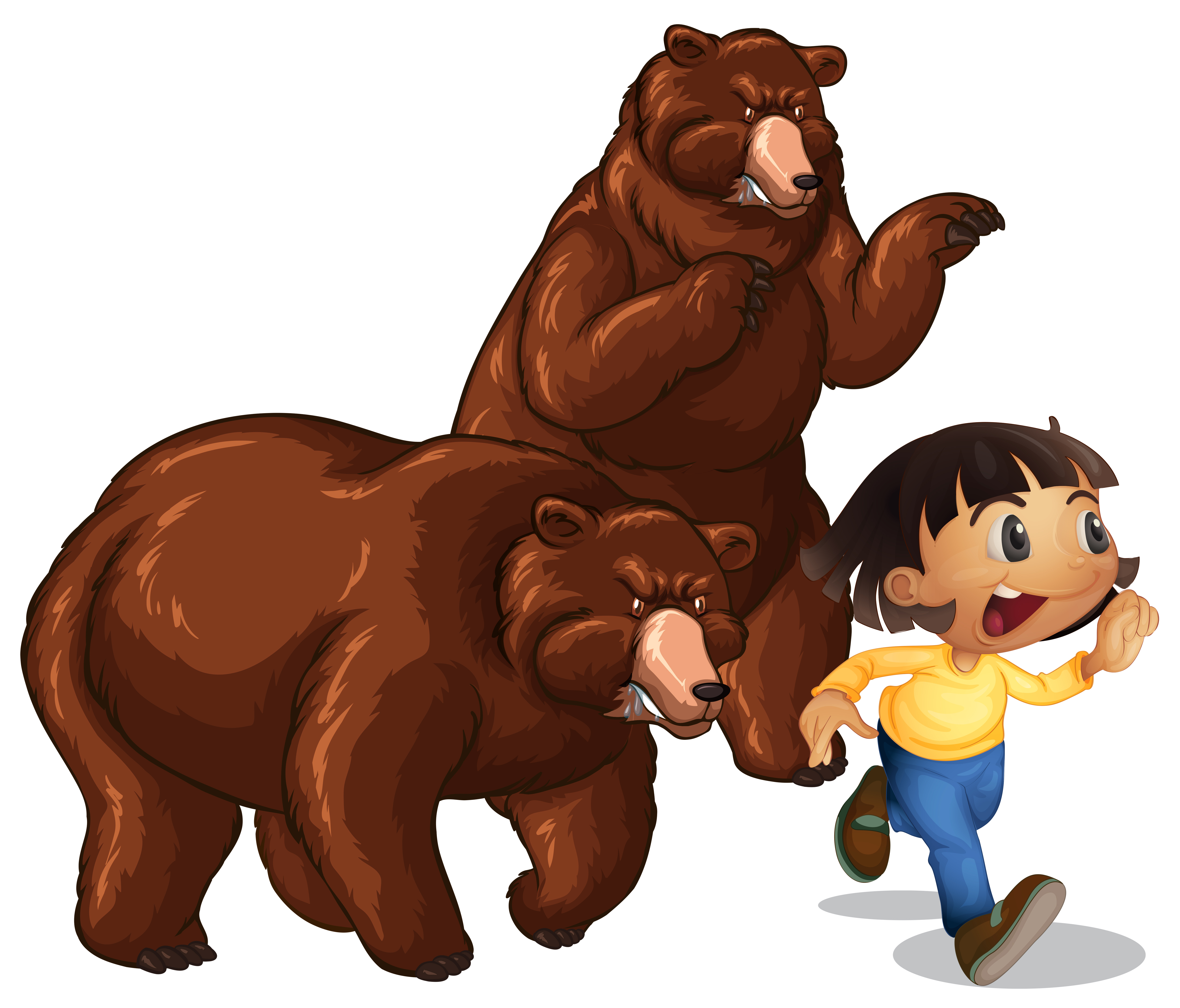 Girl running away from grizzly bears - Download Free ...