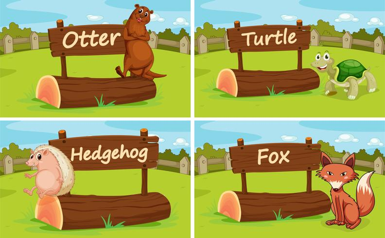 Different animals by the wooden sign