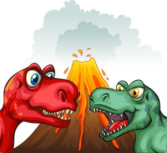 Två T-Rex slåss mot varandra