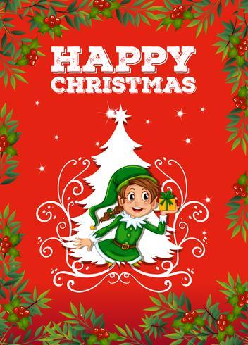 Carte de Noël avec elfe vecteur