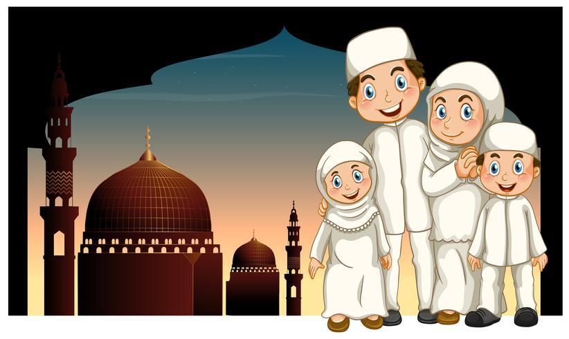 Moslim gezin en moskee vector