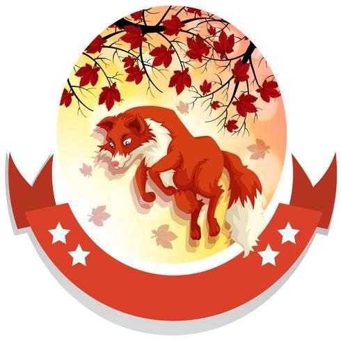 Diseño de banner con zorro saltando.
