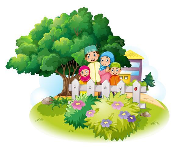 Família muçulmana no jardim