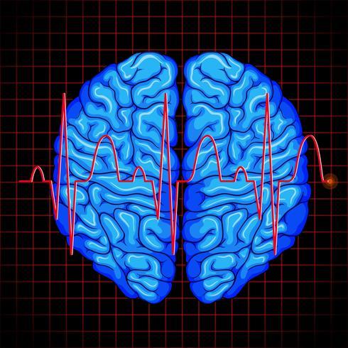 Menselijk brein en hersengrafiek op rasters