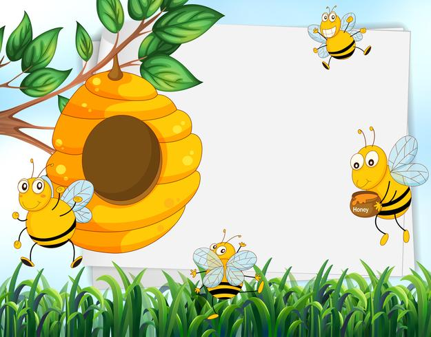 Ontwerp van het papier met bijen en bijenkorf
