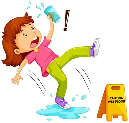 Menina escorregar no chão molhado
