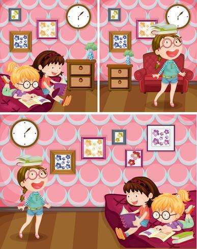Mädchen, das Buch im Wohnzimmer liest